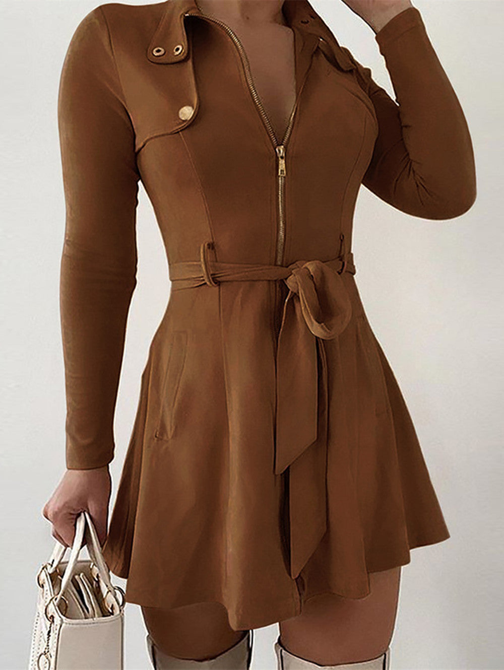 Solid Color High-waist Long-sleeved Sexy Mini Dress