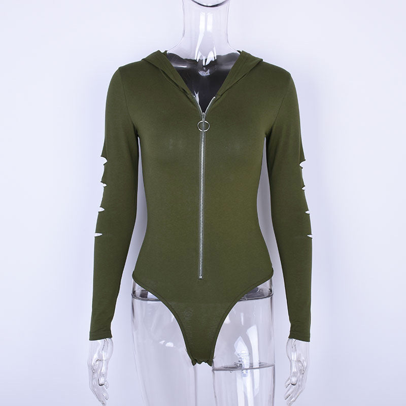 Long sleeve hooded sexy cut out bodysuit