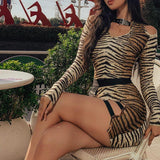 Sexy Split Tiger Print Mini Dress - Asia-Peak