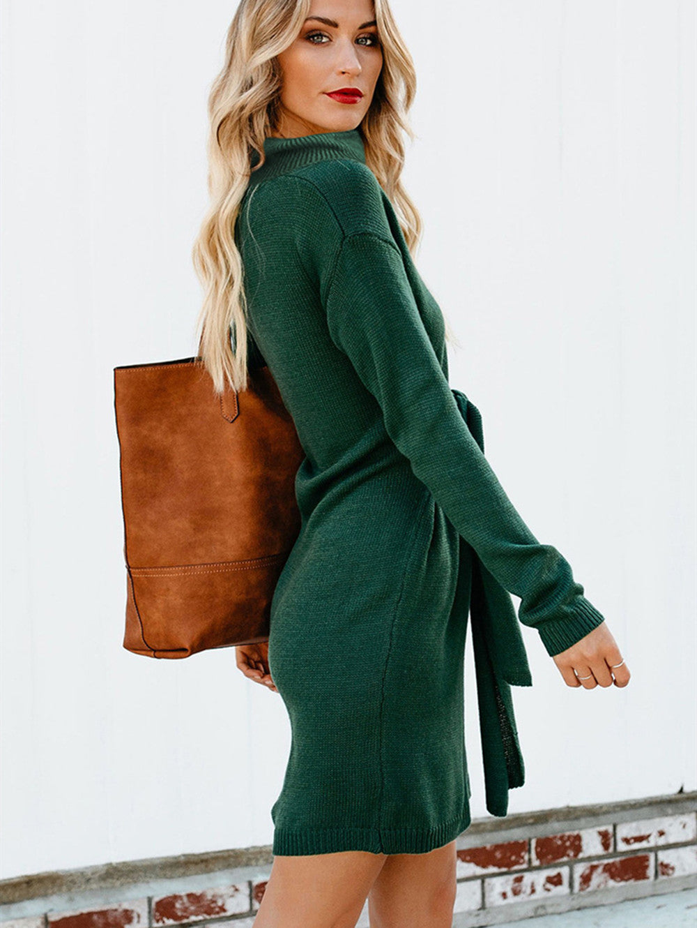 Turtleneck Pullover Long Sleeve Sweater Dress with Tie Waist