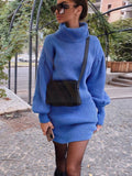 Casual Turtleneck Lantern Sleeve Knitted Mini Dress