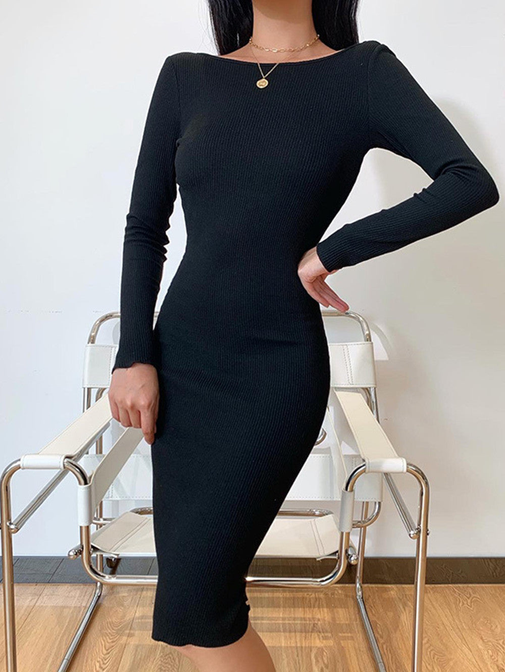 Sexy Chain Backless Long Sleeve Midi Dress