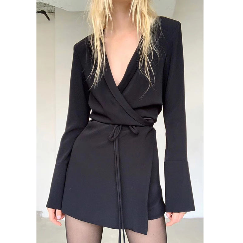 V-neck Office long-sleeved Casual Chiffon Wrapped Suit Dress