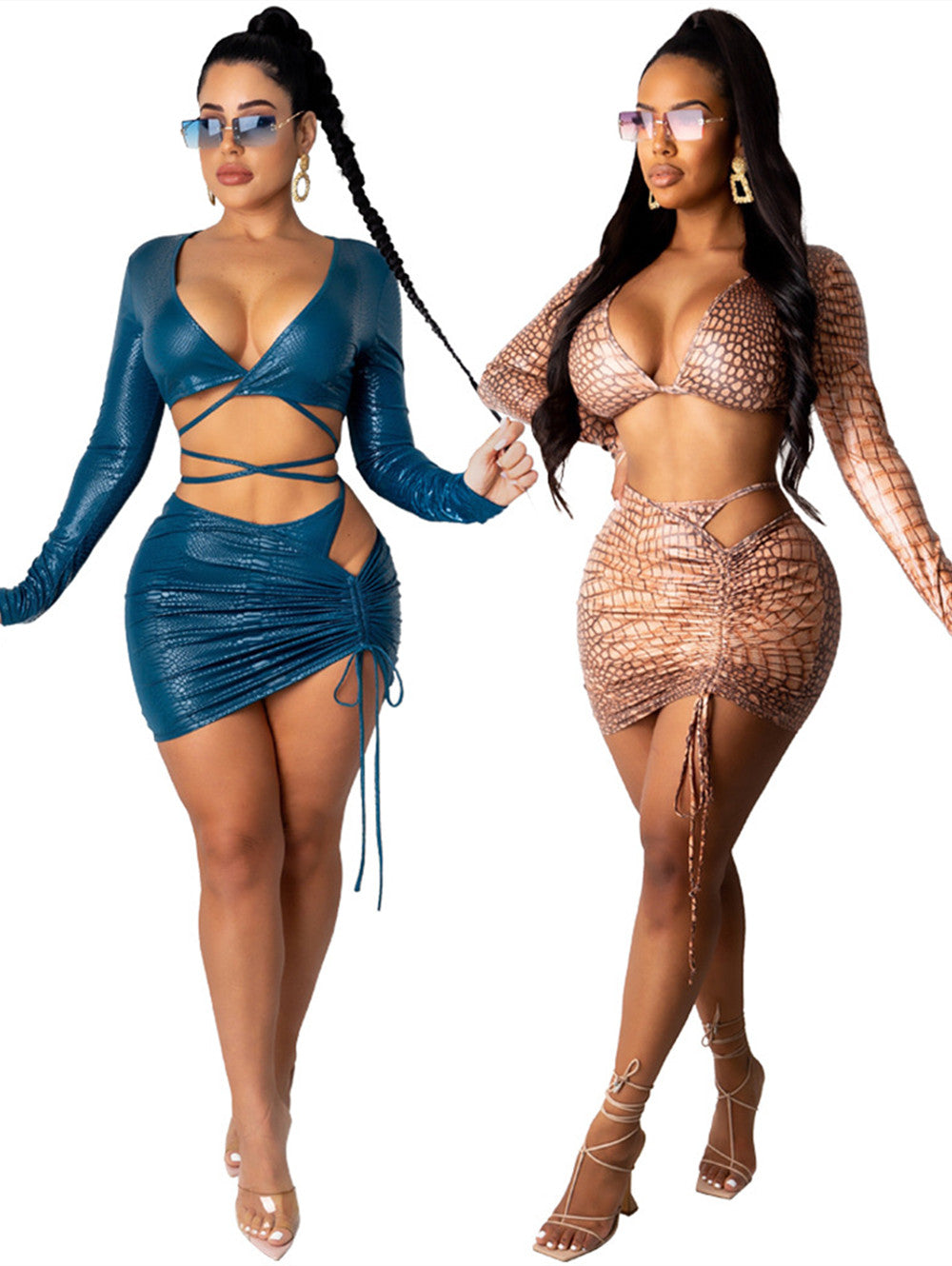Snakeskin Two-piece Bandage Shiny Top And Short Dress Suit