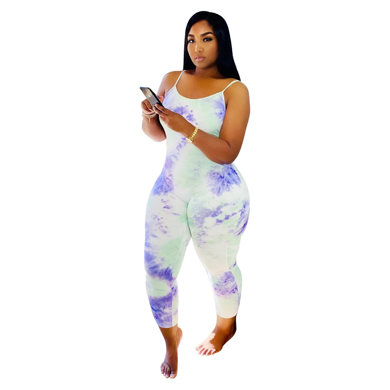Women's Sexy Printed Gradient Camisole Jumpsuit