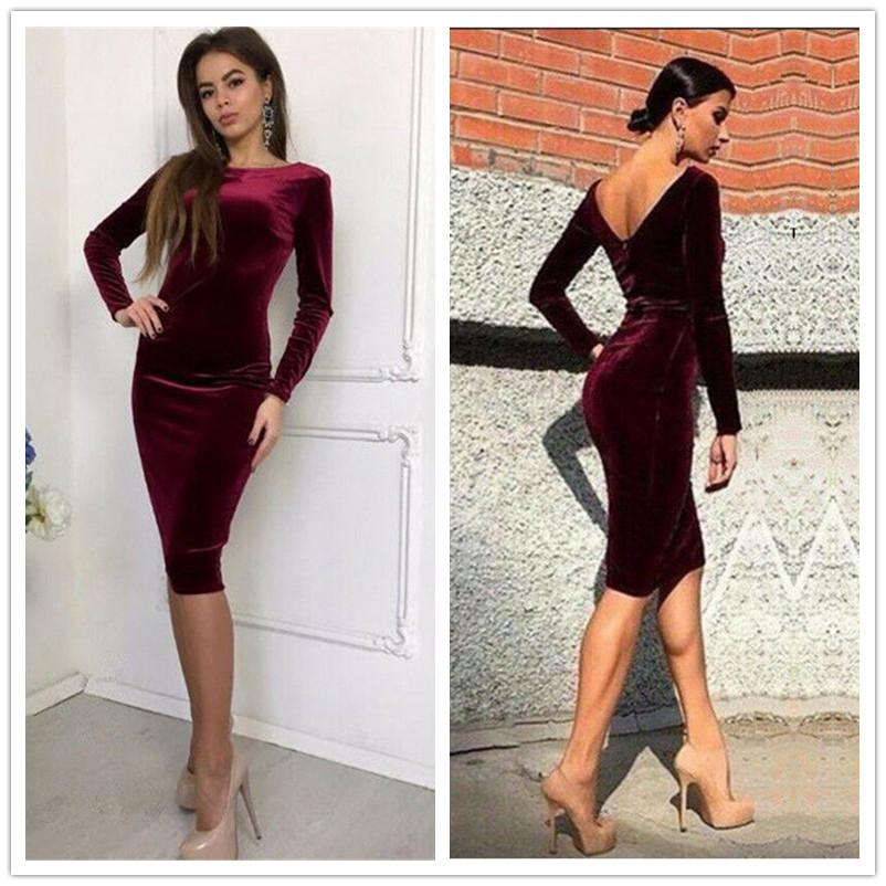 Velvet Long Sleeve Slim Dress