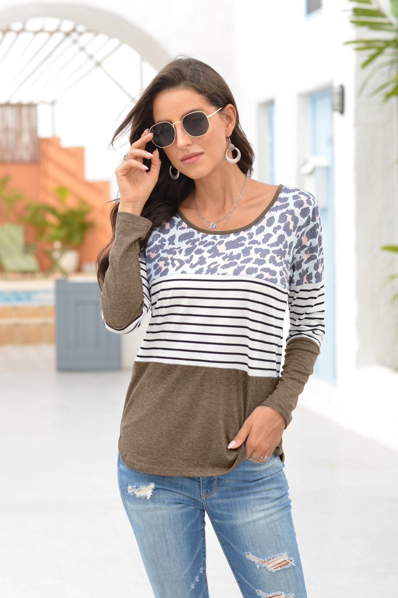 Leopard print long-sleeved Blouse