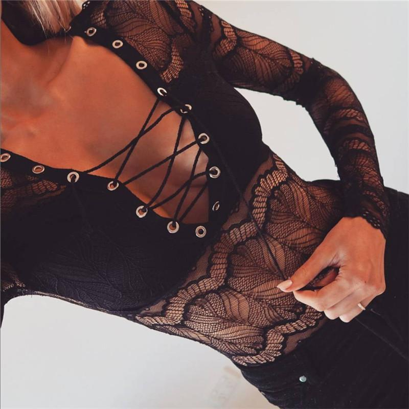 Sexy cross strap lace bodysuit - Asia-Peak