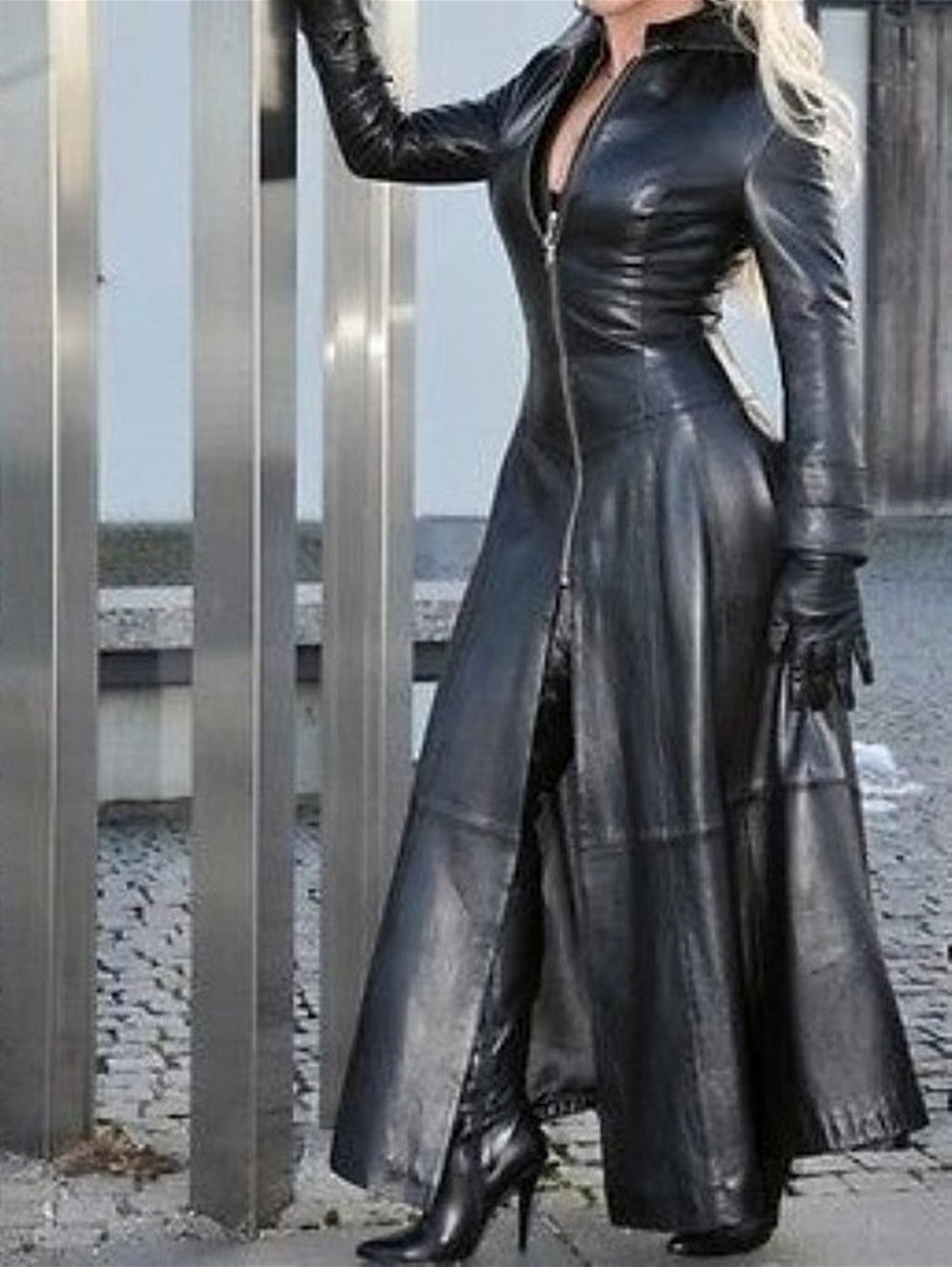 Long PU Leather Stand Collar Maxi Dress