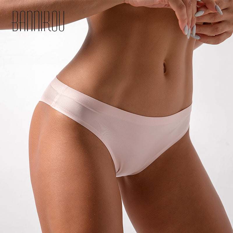 BANNIROU Women's  Ice Silk Panties Underwear Sexy Seamless Sports Female Soft High Quality T-back G-string Thongs For Woman