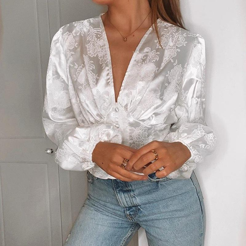 2020 Sexy V-neck Long Sleeve Satin Tops w/ Floral Print Vintage Buttons