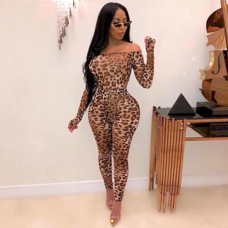 Off Shoulder Leopard Print Two-piece Set
