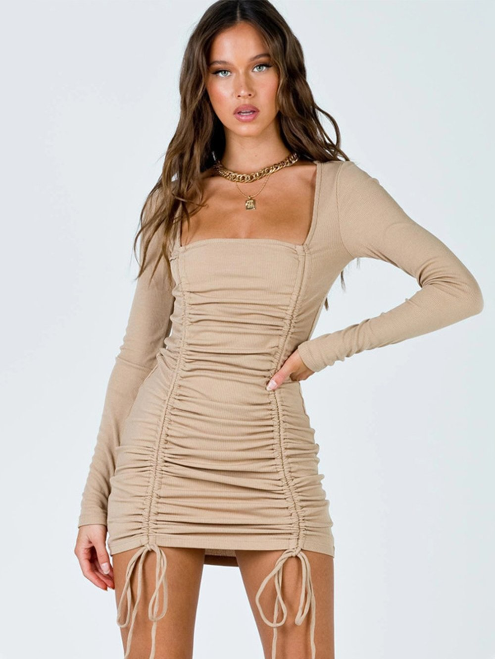 Drawstring Ruched Long Sleeve Casual Bodycon Dress
