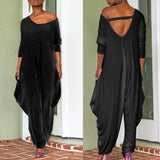 Fashion Women Loose Deep V-neck Long Sleeved Jumpsuit - Asia-Peak