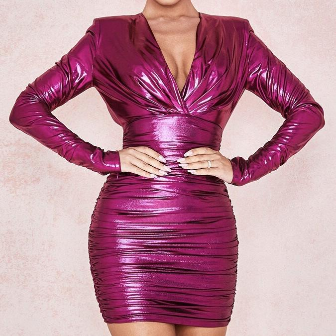 Glitter Deep V Pleated Irregular Dress