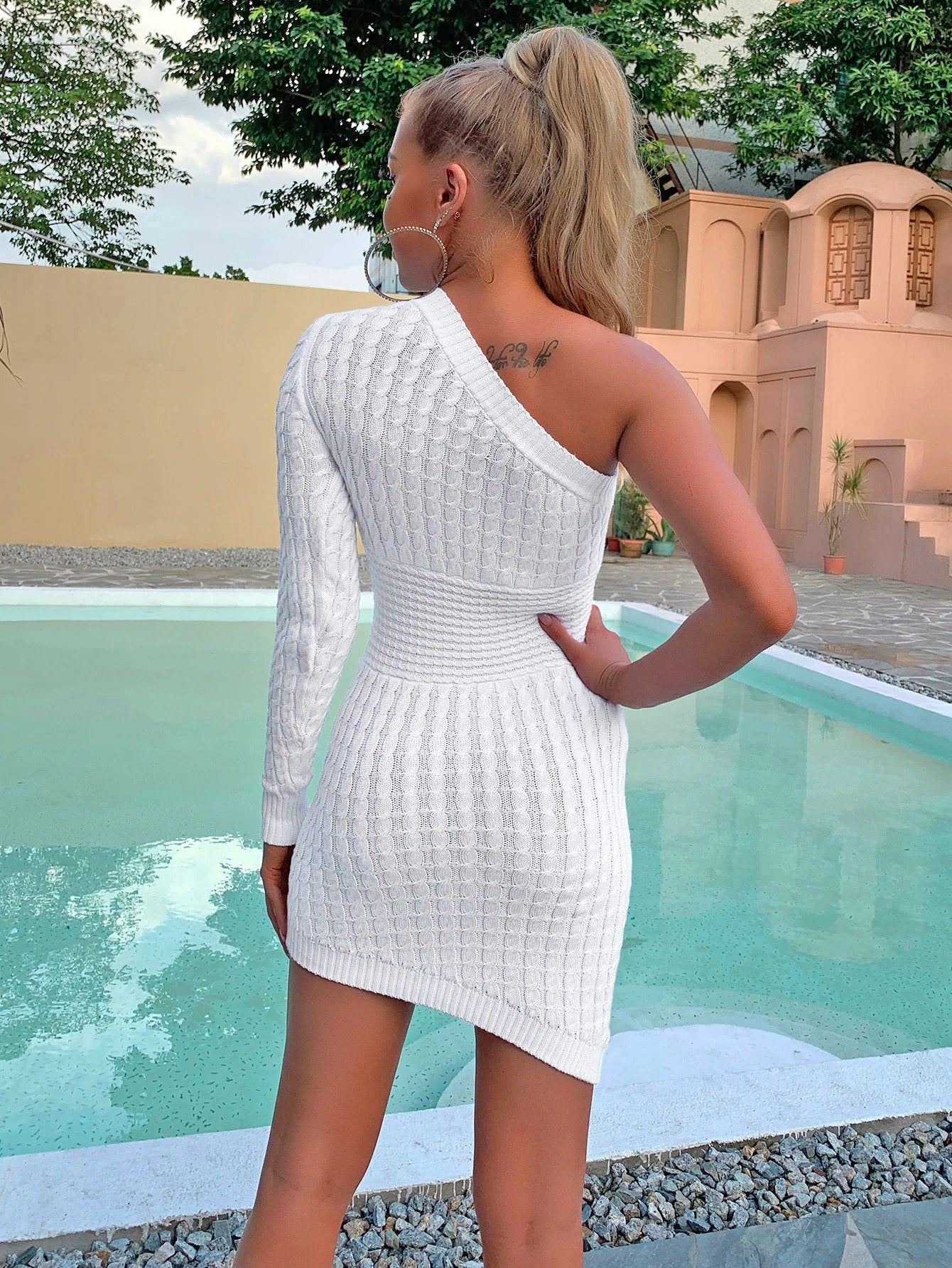 Off One Shoulder Elegant Knitted Dress - Asia-Peak