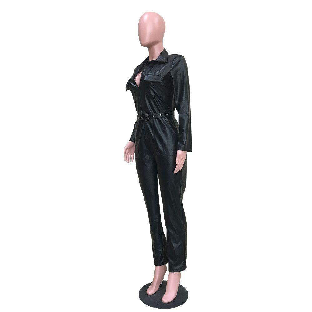 Office Lady PU V-neck Jumpsuits - Asia-Peak