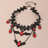Halloween Dark Bat Lace Necklace