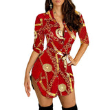 Chain Print Split Neck Shirt Dress - Asia-Peak