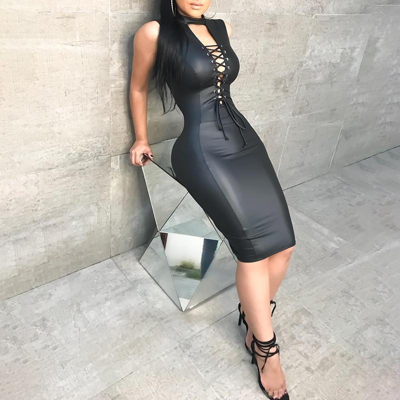 PU Deep V Lace-Up Front Bodycon Dress