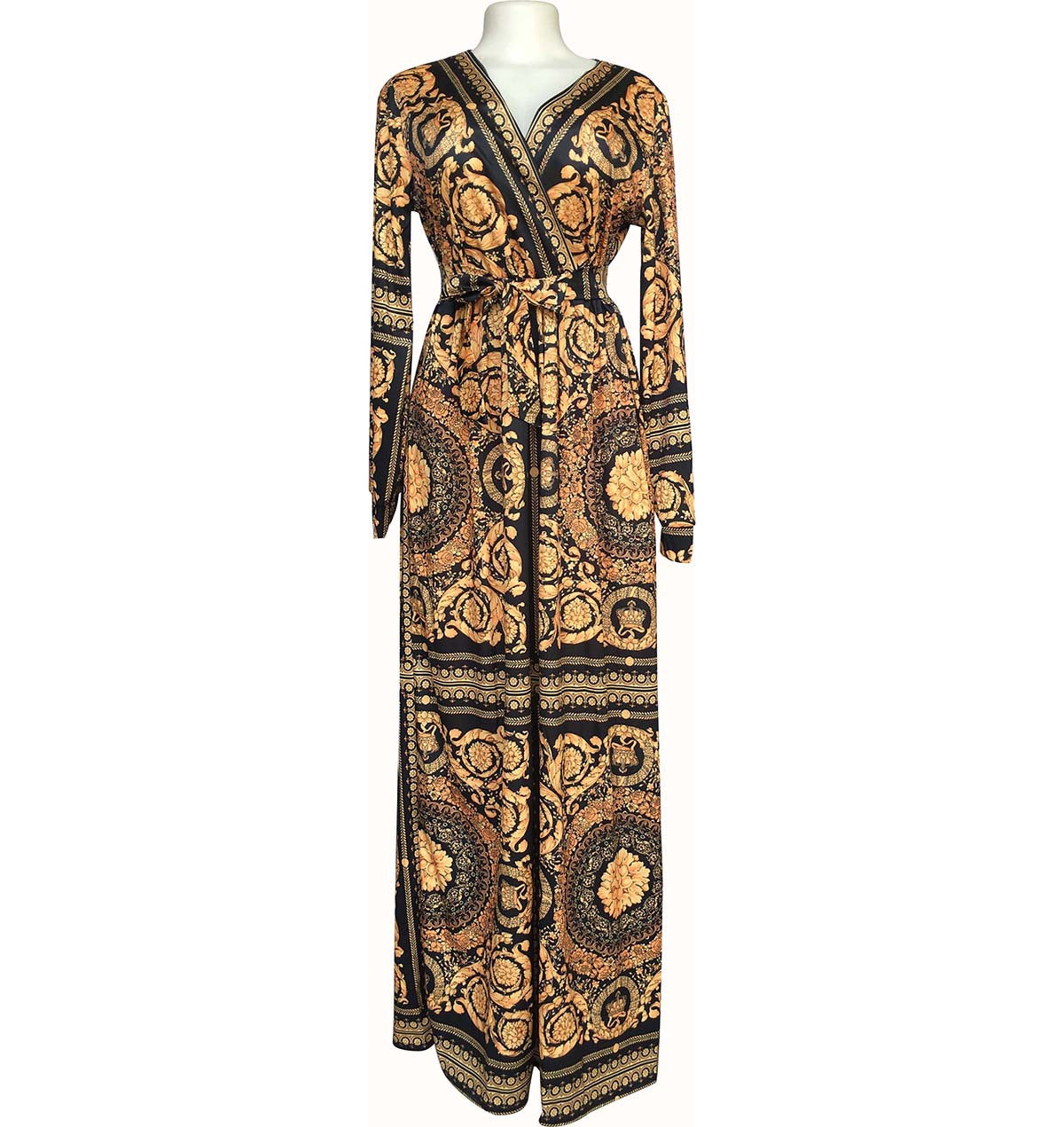 Elegant Deep V Neck Print Maxi Dress