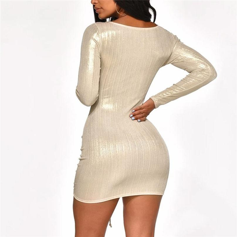 Sexy Hollow Out Solid Bandage Dress