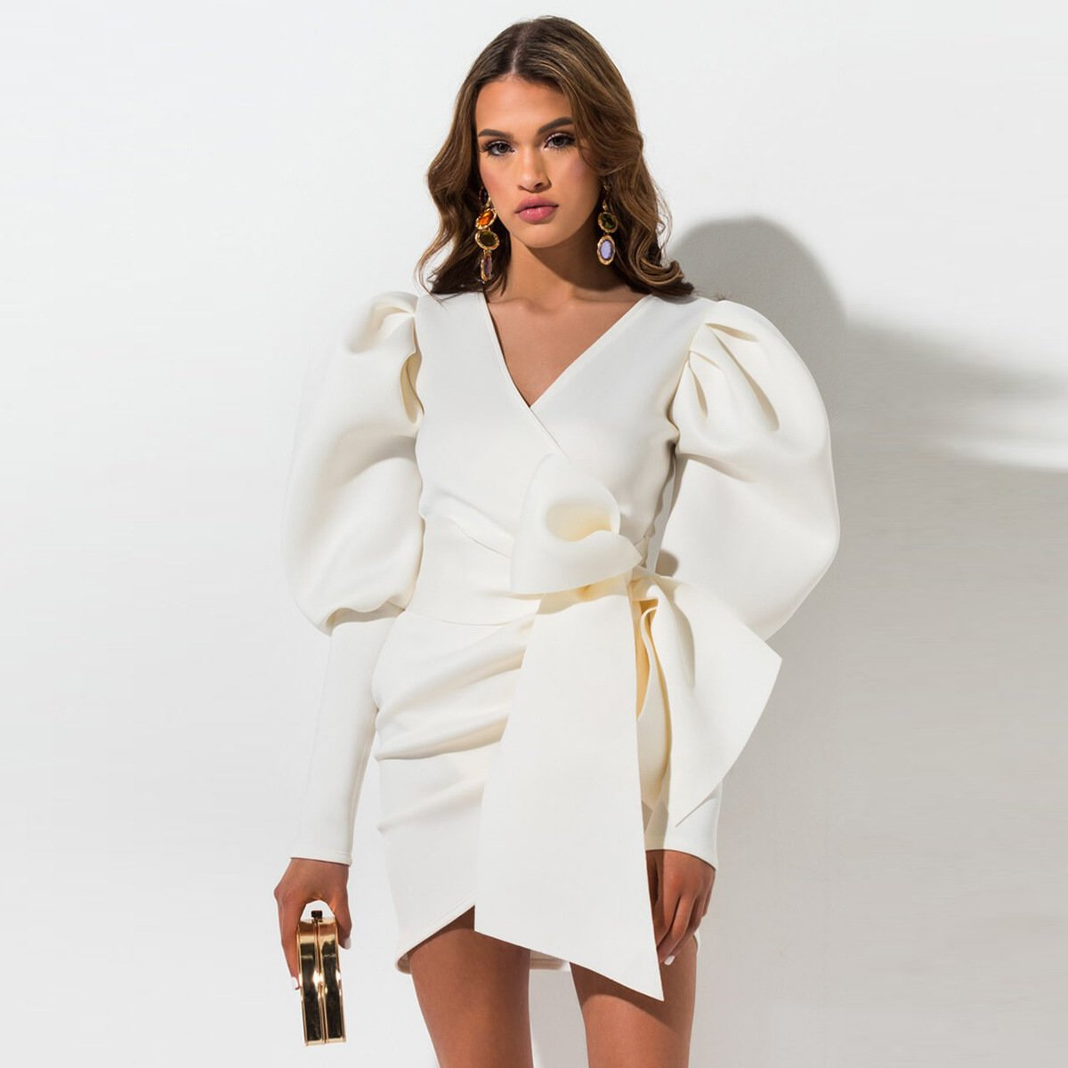 Elegant Puff Sleeve Shirt Dress