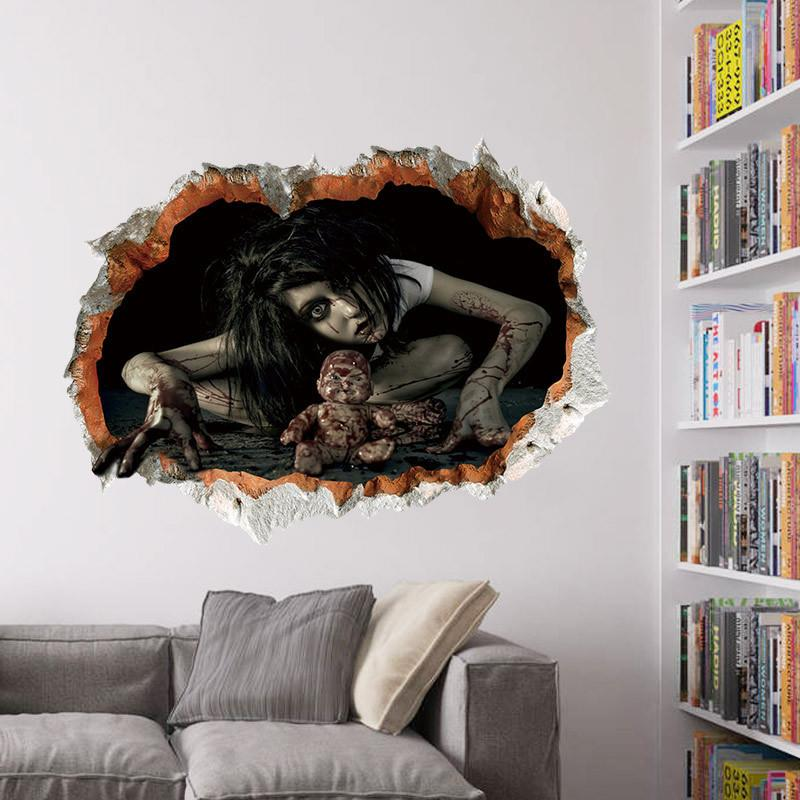 Halloween 3d View Scary Wall Sticker