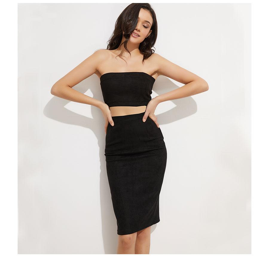 Suede Two-way Zipper Pencil Skirt