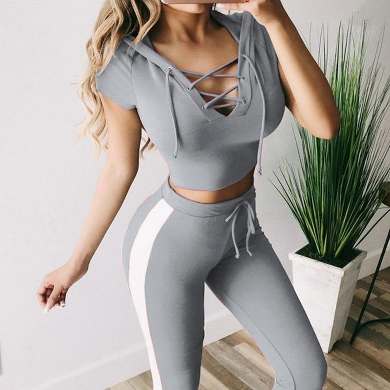 Sexy Slim-fit Lace-up Sports Suits - Asia-Peak