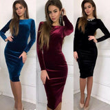 Velvet Long Sleeve Slim Dress - Asia-Peak