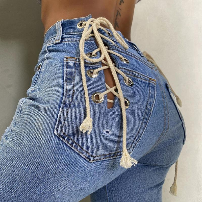 Back Lace-Up Straight Denim Pants
