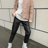 Office High Waist Spliced Loose Leather Straight Pants