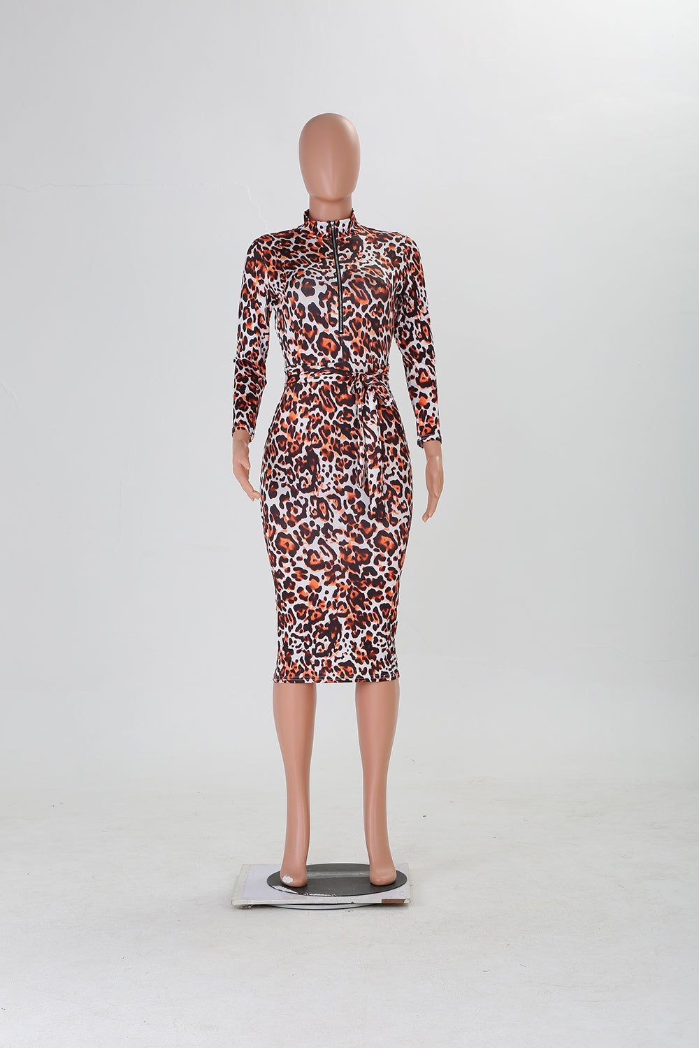 Froal Print Zipper Bodycon Dress - Asia-Peak