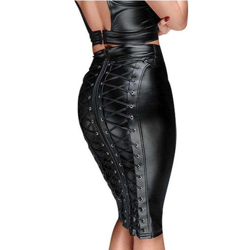 PU Leather Back Zipper Lace-up Wrap Midi Skirt - Asia-Peak