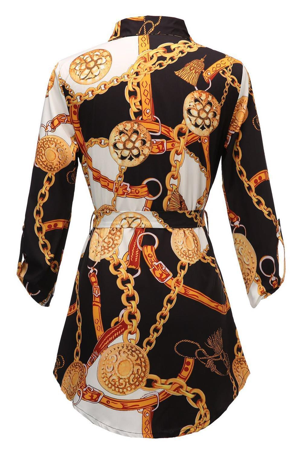Chain Print Split Neck Shirt Dress