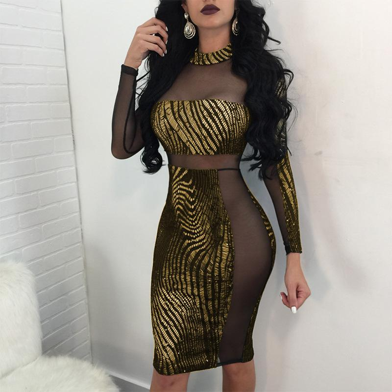 Sexy shiny see-through midi dress - Asia-Peak