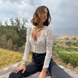 Lace Hollow Out See-Through Casual Wear Autumn Cardigan