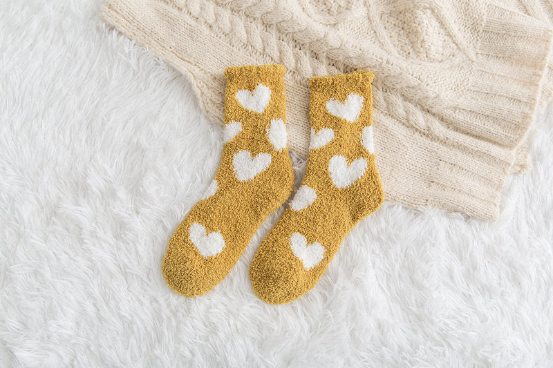 Thickened Warmth and Non-slip Fuzzy Socks Tube Socks Fluffy Socks for Autumn Winter