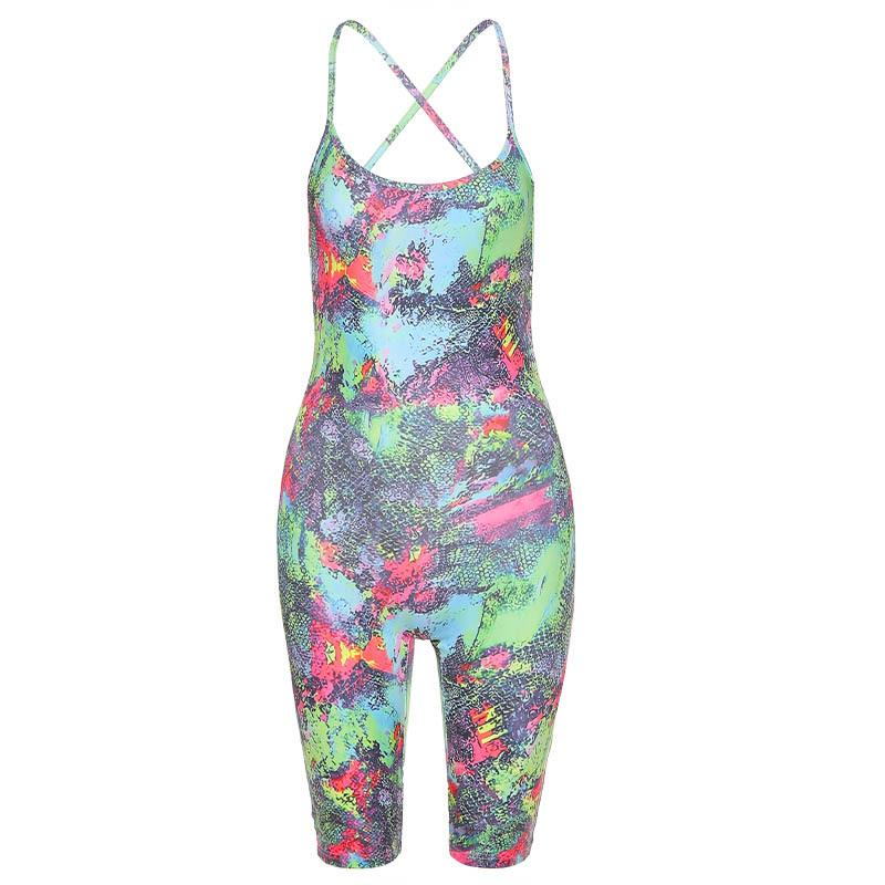 Backless Slim Fit Printing Jumpsuit