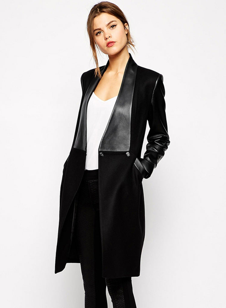 Irregular leather cardigan woolen coat