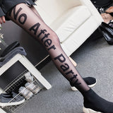 Printed Letter Transparent Pantyhose Sexy Tights Anti-Hook Silk Stockings for Women Autumn