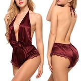 Women Sexy Lace Satin Lingerie Smooth Silk-like Nightwear Sleepwear Set Nighties Deep V-Neck