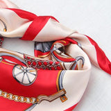 Women Silk Scarf Square Carriage Print Neck