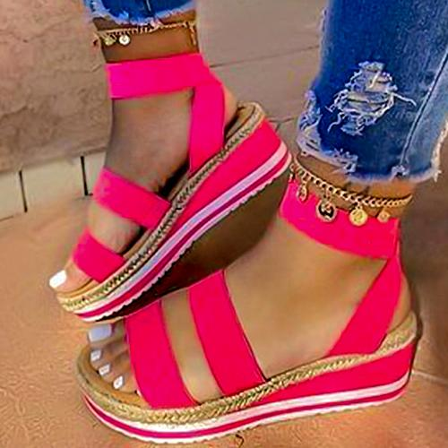 2020 Platform Women Sandals Wedges Shoes For Women Summer Shoes Rose Red - Asia-Peak