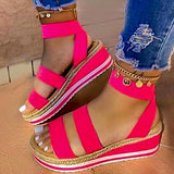 2020 Platform Women Sandals Wedges Shoes For Women Summer Shoes Rose Red
