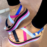 2020 Flat Strap Women Summer Sandals Woman Shoes Mixed Colors Platform Dropship Shoes - Asia-Peak