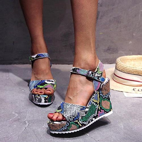 2020 New Thick Sole Gladiator Summer Women Sandals Colorful Wedges Flower Snake Pattern Ladies High Heels
