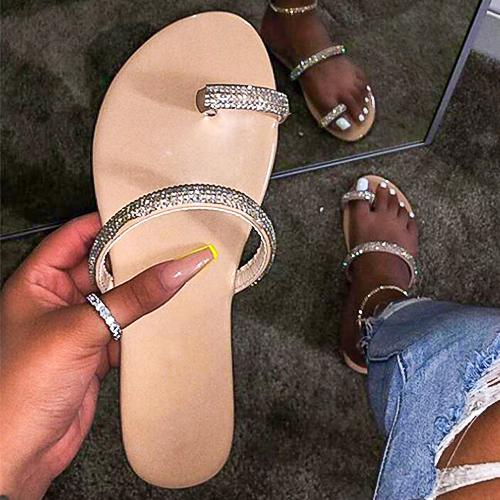 2020 Women Shoes Rhinestone Rivet Slippers Casual Ladies Slides Open Toe Metal Decoration Beach Shoe pop diamond sequins women's sandals Candy-colored Slippers