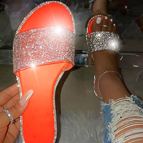 High quality fashion flat bottom outdoor female slippers Sexy wild roman rhinestones comfortable plus size beach women slippers